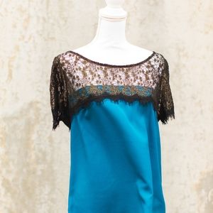 Nordstrom Lush Teal & Lace Satin Blouse